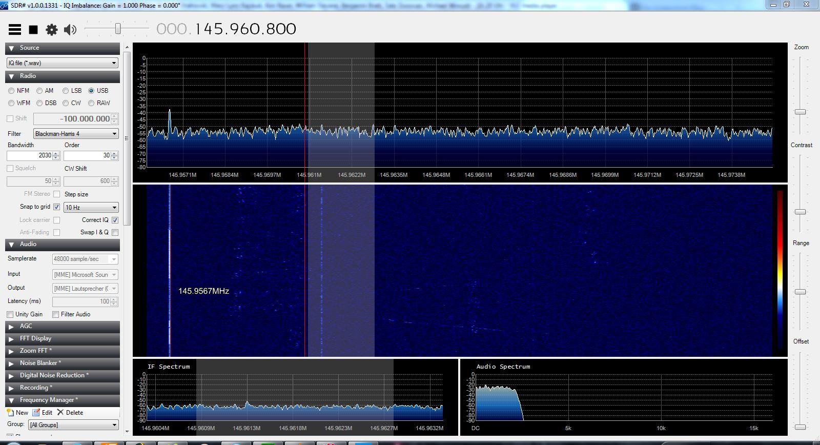 Transponder des FunCube. Im Abstimmbereich ein CW-Signal, darüber und darunter sind schwache SSB-Signale zu erkennen.