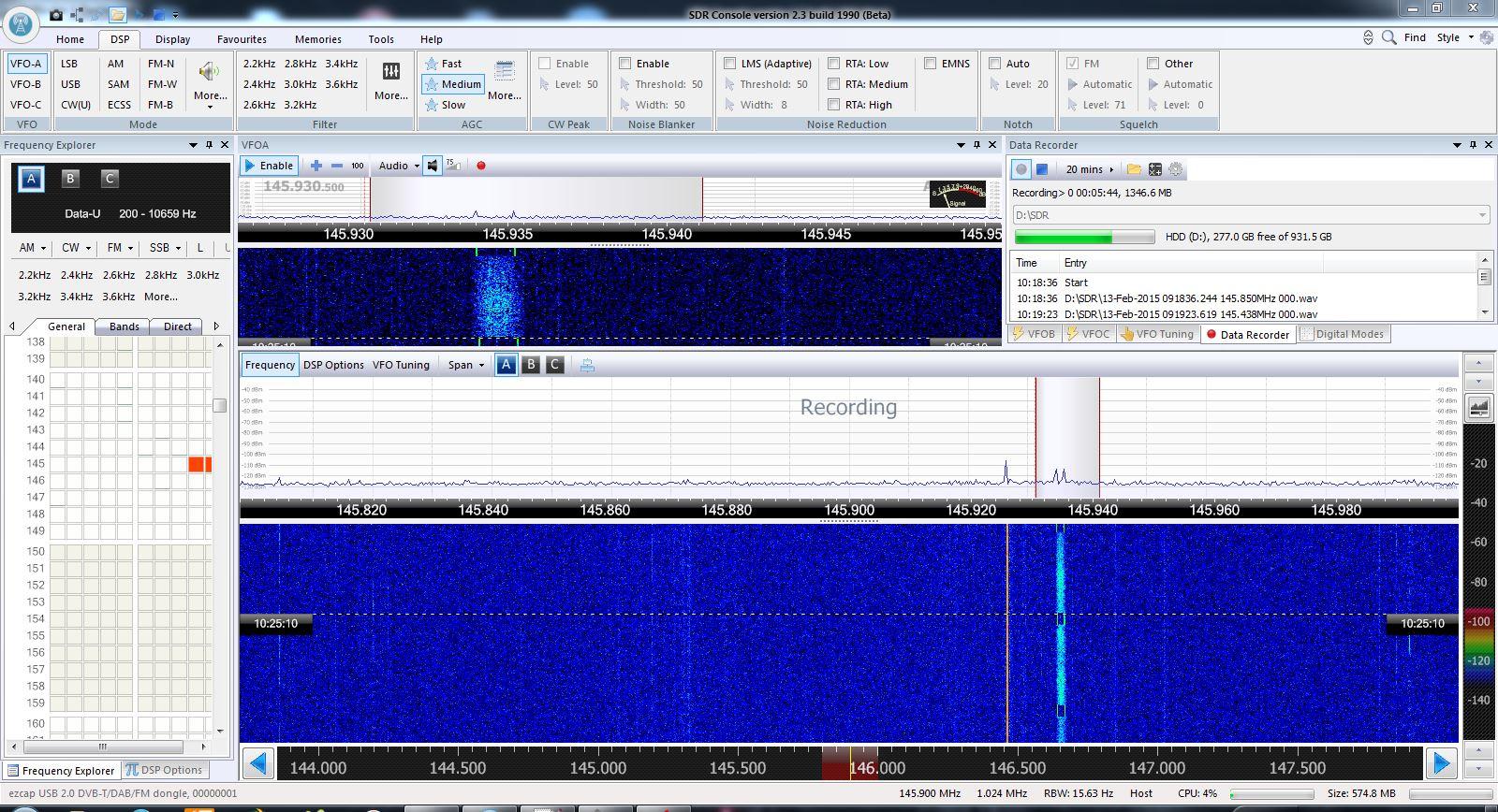 Gut zu erkennen: Das 1k2 BPSK Signal mit den Telemetriedaten des FunCube