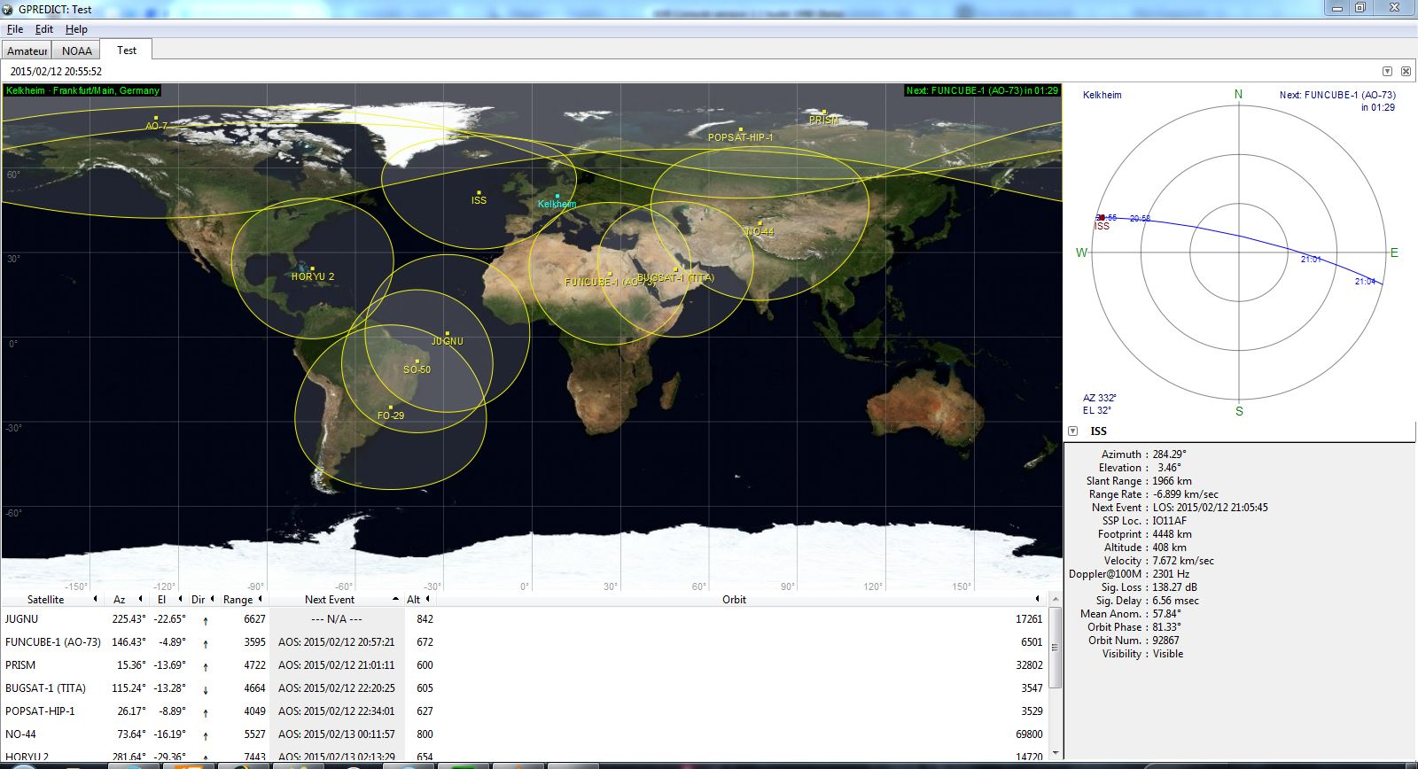gpredict zeigt uns die ISS im Überflug