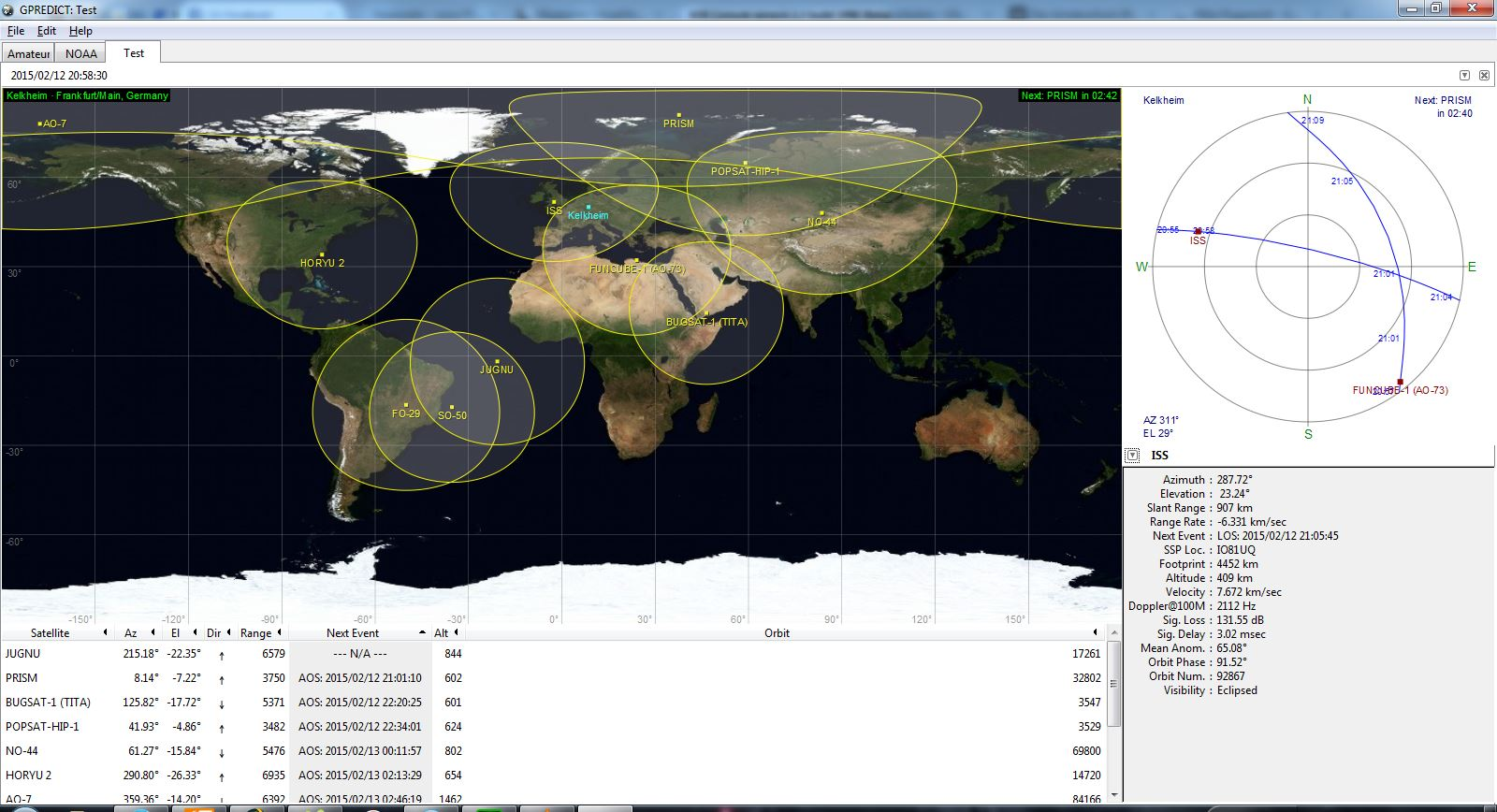 gepredict zeigt uns Position und Flugbahn von ISS und Funcube
