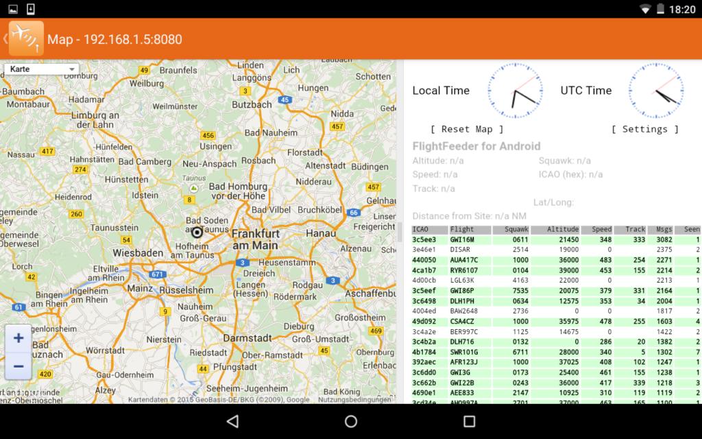 Kartenansicht von FlightFeeder