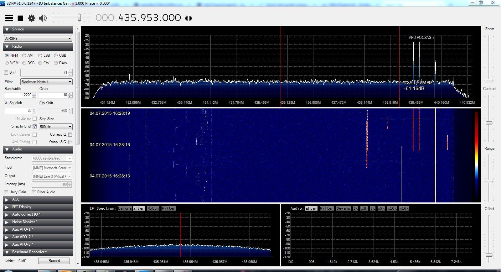 Das 70cm Band mit dem Airspy. Gut zu sehen, der ISM-Bereich, 2 DMR Repeater, eine CW-Bake etc.