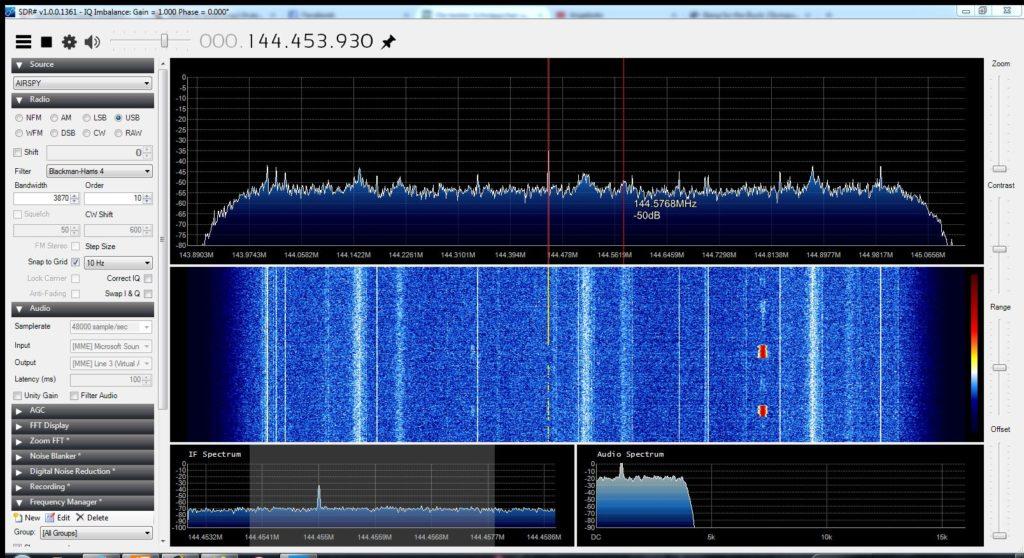 Airspy beim Empfang von DB0MMO auf 144,455 MHz