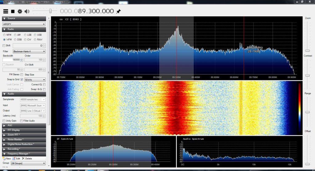 Airspy beim Empfang von HR3 auf 89,3 MHz