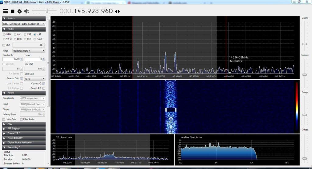 Telemetriesignal des Funcube (AO-73) empfangen mit dem SDRplay