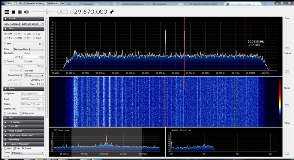 SDRplay auf 10m, DF0MOT bei 29,670 MHz
