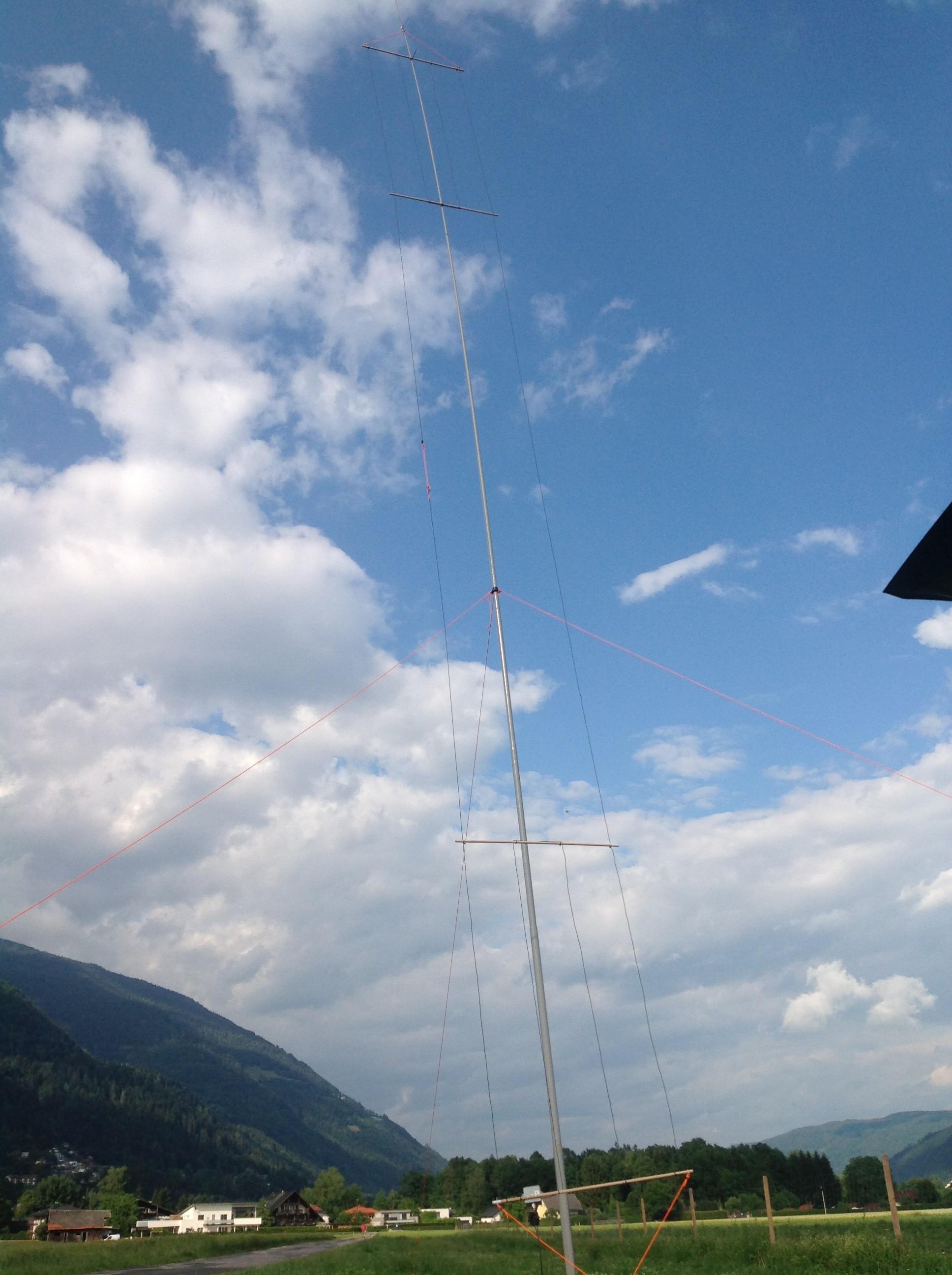 Die fertig aufgebaute Antenne