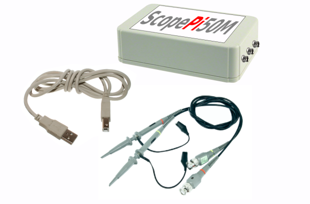 ScopePi50M mit Messköpfen und USB Kabel