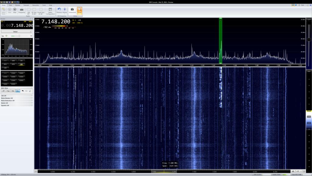 Das gut belegte 40m-Band mit dem SDRplay empfangen. Man sieht sehr schön, dass der Fokus in der Übersichtlichkeit des Empfangsspektrum liegt.
