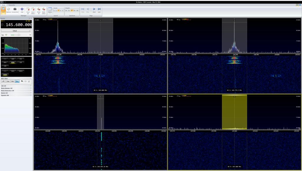 Neu: Die Rx Matrix nimmt das 2m Band unter die Lupe. Oben links APRS bei 144.800 MHz, oben rechts eine OV-Frequenz, unten links die CW-Bake DB0MMO und unten rechts die Frequenz von DB0FT.