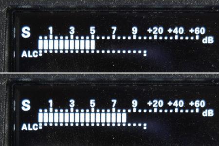 S-Meter bei 5 und S-Meter bei 8